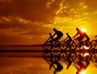 cyclists-sunset