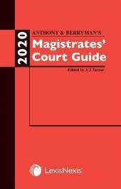 Anthony and Berryman's Magistrates' Court Guide 2020 cover