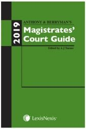 Anthony and Berryman's Magistrates' Court Guide 2019 cover