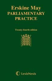 Erskine May: Parliamentary Practice 24th edition cover