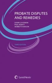 Probate Disputes and Remedies Third edition cover