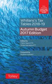 Whillans's Tax Tables 2018-19 (Budget edition) cover